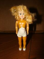 """Vtg Celluloid Doll Sleepy Open Close Eyes Blonde Hair No Clothes,Jointed Arms 6"""""""