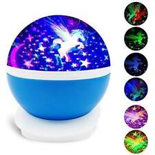 Baby Bedroom Kids Unicorn Night Light Projector LED Rotating Starry Nursery Lamp