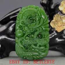Chinese Natural Green Hetian Jasper Jade Hand Carved Dragon Pendant 28