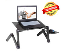 Laptop Desk Adjustable Aluminum Stand Table Bed Portable Notebook Black Mouse