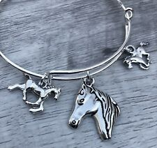3 Horse Silver charms Expandable Bangle Bracelet