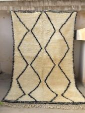 "VINTAGE Moroccan Beni Ourain Medium Rug #24 9'5"" x 6'3"" Handwoven 100% Wool"
