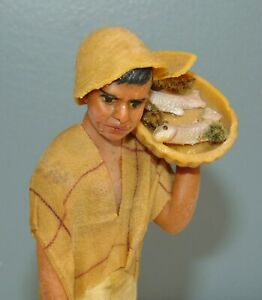 ANTIQUE VARGAS Wax Doll FISHERMAN Needs TLC New Orleans