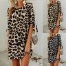 Womens Leopard Print Baggy Oversized Beach Mini T-Shirt Dress Tunic Longline Top