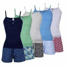 Damen Sommer Pyjama 100% Baumwolle Schlafanzug