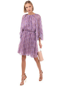 RRP €1210 BLUMARINE Blouson Dress Size 42 S Floral Pleated Cut Out Made in Italy