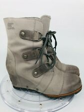 Sorel Joan of Arctic Wedge Mid Women's 8.5 Kettle/Gray Lace Up Boots NL2213-060