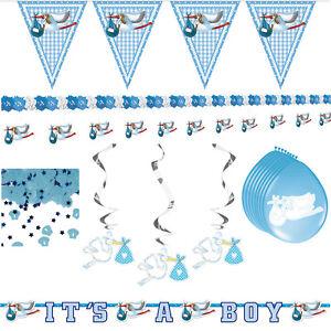 Geburt Junge Taufe Baby 15 tlg Deko Set Baby Shower Party Dekoration blau Boy