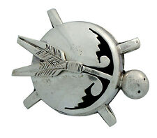 Nelson Morgan, Pin, Pendant, Turtle, Sterling Silver, Navajo Handmade, 1.4 in