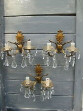 Antique,Vintage, Pair French Crystal Wall Lights,Gilt,Rare