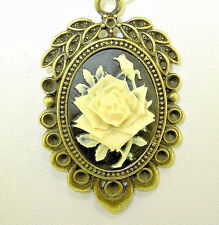 """New  Lovely Antique-look ivory-colored ROSE Bronze-tone CAMEO 18"""" - 20"""" Necklace"""