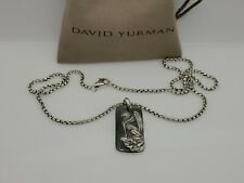 David Yurman Sterling Silver Large Mythical Griffin Dragon Tag Pendant Necklace
