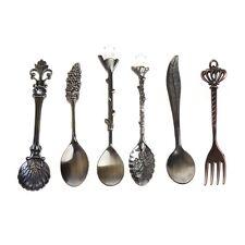 6Pcs Vintage Retro European Royal Style Coffee Tea Spoon Fork Flatware Tableware