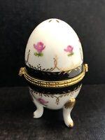 Limoges Style Cobalt Blue/White Porcelain Footed Egg Trinket Box Floral Design