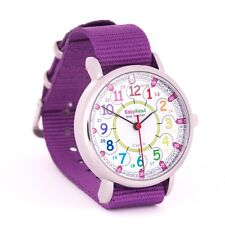 EasyRead Time Teacher 24 Hour Kids Watch Purple Band Rainbow Face Free Express