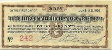 1905 BULLFROG WATER LIGHT & POWER CO $5 BOND COUPON ~ RHYOLITE NEVADA GHOST TOWN
