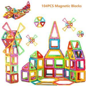 104PCS Magnetic Building Blocks Construction Designer Mode Assembly Bricks Toys