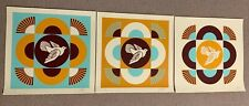 Dove Geometric Set  Obey Giant Shepard Fairey Signed Blue/Orange 3 prints