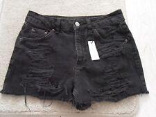 Ladies BNWOT Topshop MOM Petite Ripped Washed Black Denim Shorts Size 8 (LOF)Cur