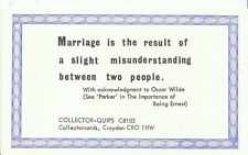 Quips Postcard - Marriage Is The Result of A Slight Misunderstanding   2360