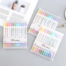 12 Stück / Set Mildliner Highlighter Pen Doppelköpfiger fluoreszierender Marker