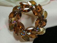 Vintage Estate Gold Amber Topaz Warm Wreath Rhinestone Juliana? Brooch Pin
