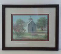 """Vintage Original Painting Chapel Landscape 10.5 x 8.5"""" Signed H. Rogers Framed"""