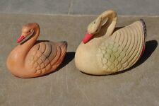2 Pc Pink & Cream Unique Celluloid Swan/ Duck Figurine / Toy , Japan