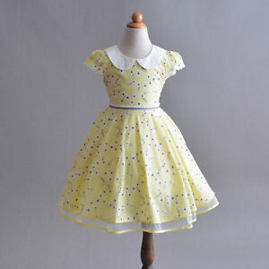 Girls Flower Cotton Summer Party Dress Blue Pink Yellow 4 5 6 7 8 Years