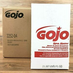 GOJO 2252-04 Spa Bath Body & Hair Shampoo, Herbal, Rose Color, Carton Of 4