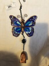 Stain Glass Effect Hanging Garden Butterfly With Bell New