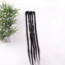 "10pcs 20"" Human Hair Dreadlocks Extensions Handmade Crochet Punk Dreads Locks"
