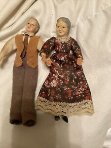 VINTAGE caco of Germany  doll HOUSE COUPLE W/ PLASTIC W/ POSABLE clothe LIMBS
