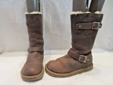 AUTHENTIC UGG AUSTRALIA BROWN LEATHER KENSINGTON BIKER BOOTS UK 4.5 EU 37 (1539)