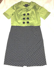 Signature By Robbie Bee 2 Piece Dress,Size 16, Green Jacket, Black/White Dress