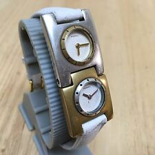 Nice Fossil Lady Silver Gold Tone Dual Watch Face Analog Quartz Hour~New Battery