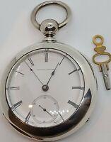 Antique 1867 ELGIN G.M Wheeler US Civil War Coin Silver Key Wind Pocket Watch