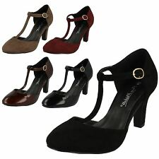 LADIES ANNE MICHELLE MARY JANE T-BAR SHOES BLACK BURGUNDY HEELS F9951 SIZE 3 - 8