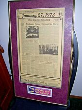 Framed Herald Standard Newspaper Vietnam Peace Signed in Paris January 27 1973