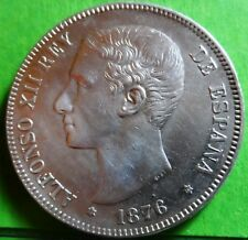 ALFONSO XII  5 Pesetas 1876  Stars  (18) - 76     Silver