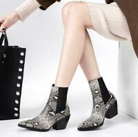 Womens Snakeskin Mid Block Heel Pull on Ankle Boots Punk Casual Winter Shoes NEW