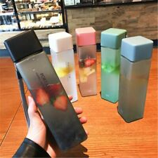 Square Plastic Water Bottle Portable Transparent Frosted Fruit Juice Travel Camp