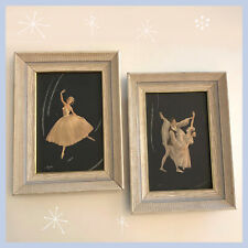 Pair of Framed Vintage Mid-Century Ballet Paintings Prints 50's Dancers