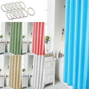 Plain Shower Curtain Bathroom 12 Hook Ring Set 180X180Cm Mildew Splash Resistant
