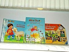 3 GERMAN ILLUSTRATED CHILDREN'S BOOKS PICTURE FLAPS -FEELING TEXTURE -WORD PICS