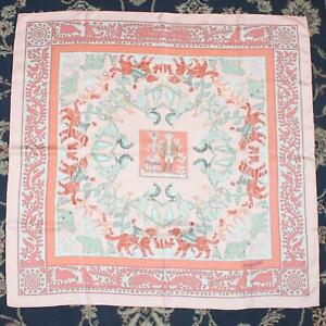 Vintage Estate Hermes EARLY AMERICA 90cm Pink Silk Scarf - Dry Cleaned