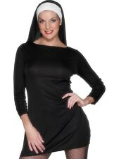 Sexy Nun Costume M UK 12/14 Short Nun Dress & Headpiece - Ladies Fancy Dress