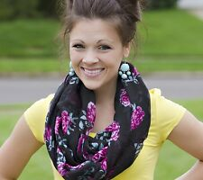 Floral BLACK w/Red Wine Infinity Scarf - Scarves - USA FREE Shipping 3-5 days