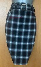 Karen Millen UK 8 Black Check Print Wool Office Work Knee Length Pencil Skirt 36