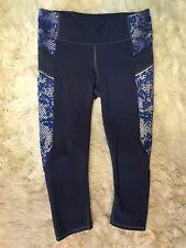 Athleta Mas Design Capri Leggings Blue Zip Pocket Crop Workout Sample Sz M